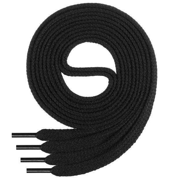 Di Ficchiano flache SCHNÜRSENKEL aus 100% Baumwolle für Sneaker und Sportschuhe - sehr reißfest - ca. 7 mm breit-black-100